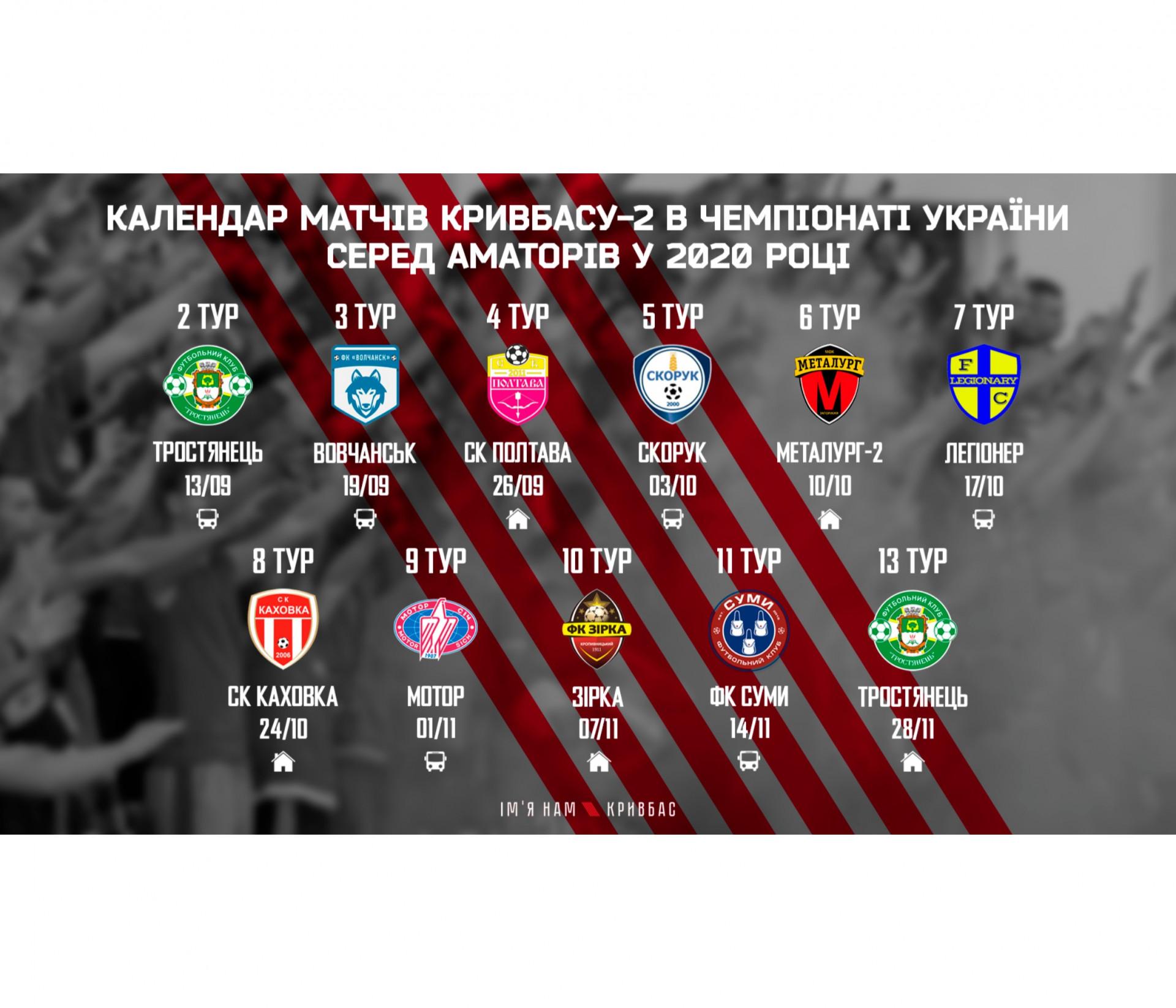"""Календар ігор """"Кривбасу-2"""" в ЧУ серед аматорів у 2020 році}"""