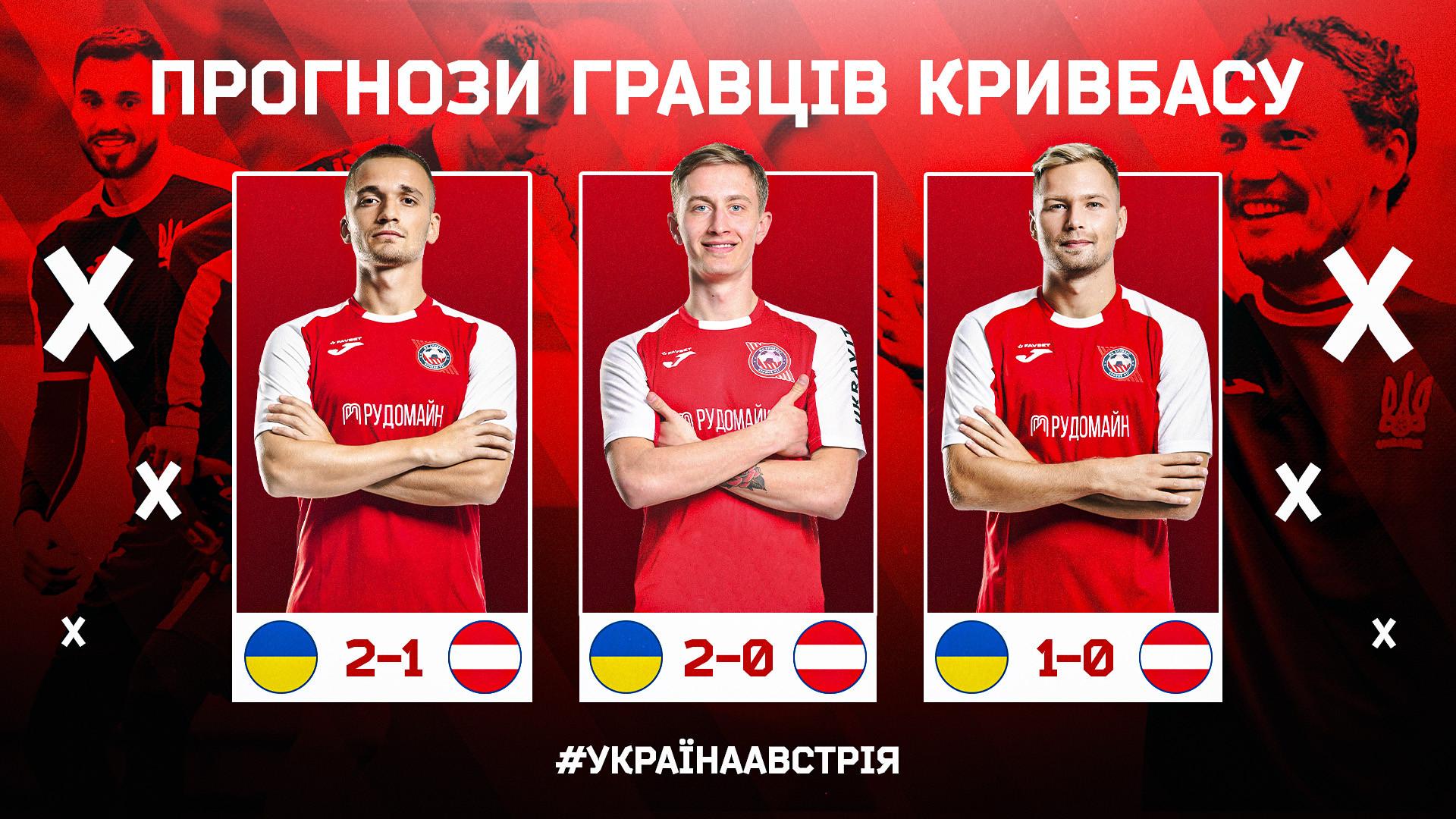 """Україна - Австрія: який рахунок прогнозують гравці """"Кривбасу""""?}"""