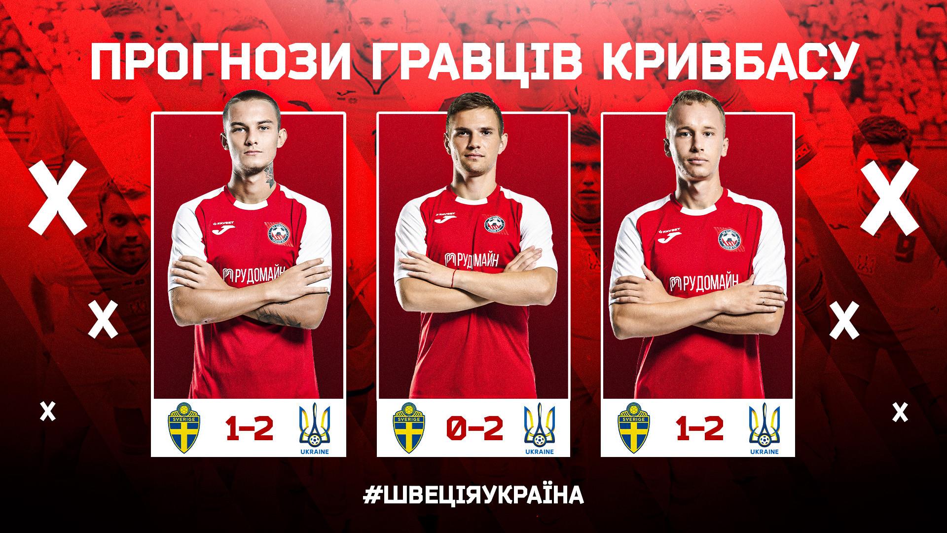 """Швеція - Україна: який рахунок прогнозують гравці """"Кривбасу""""?}"""
