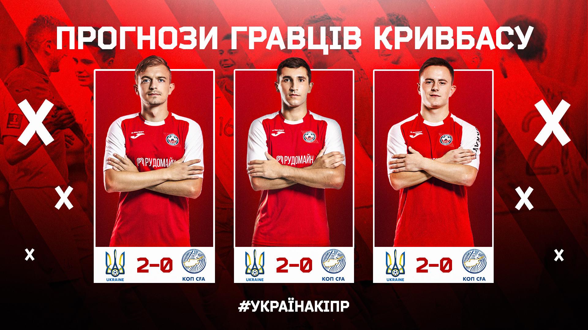 """Україна - Кіпр: який рахунок прогнозують гравці """"Кривбасу""""?}"""