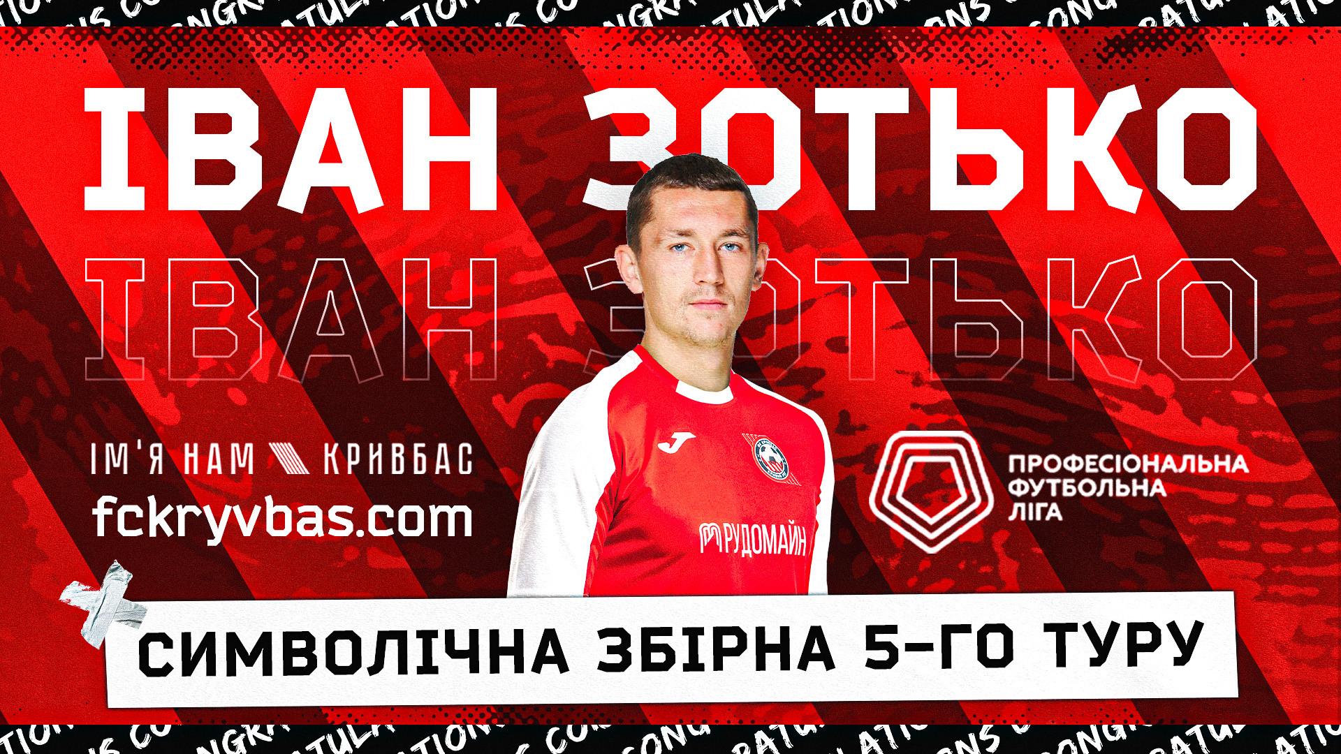 Іван Зотько - серед найкращих гравців 5 туру Першої ліги!}